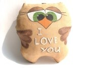 Primitive coffee owl  toy or magnet or sachet with cinnamon smell