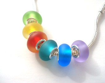 Set of 6 Sea Glass Effect Handmade Lampwork Beads
