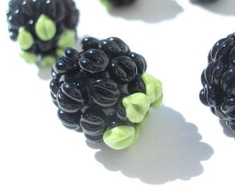 Set of six glass lampwork blackberry beads