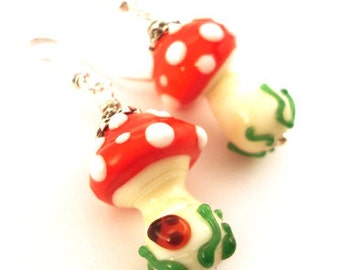 Toadstool earrings , glass lampwork earrings , lampwork bead red / pink / green ,silver earrings ,artisan lampwork earrings ,beaded earrings