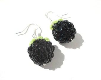 Blackberry earrings,Glass lampwork earrings, flower earrings ,floral earrings , silver earrings ,artisan lampwork earrings , beaded earrings