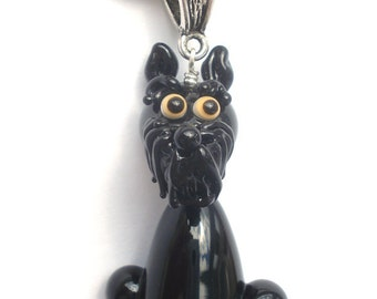 Giant Schnauzer necklace glass charm pendant jewelry with silver chain bead lampwork ,  miniature , figurine , sculpture