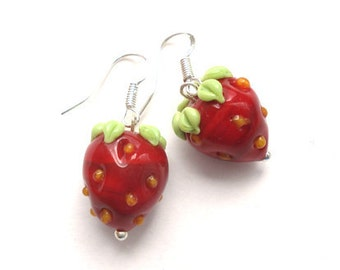 Strawberry earrings, Glass lampwork earrings, flower earrings ,floral earrings , silver earrings ,artisan lampwork earrings ,beaded earrings