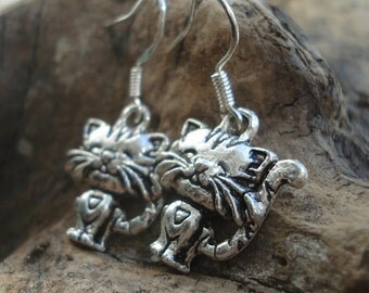 Antique silver cat with smile earrings