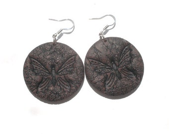 Brown  imitations of leather  butterfly polymer clay earrings