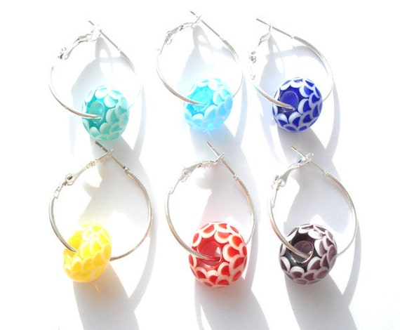Handmade lampwork wine charms - set of six-