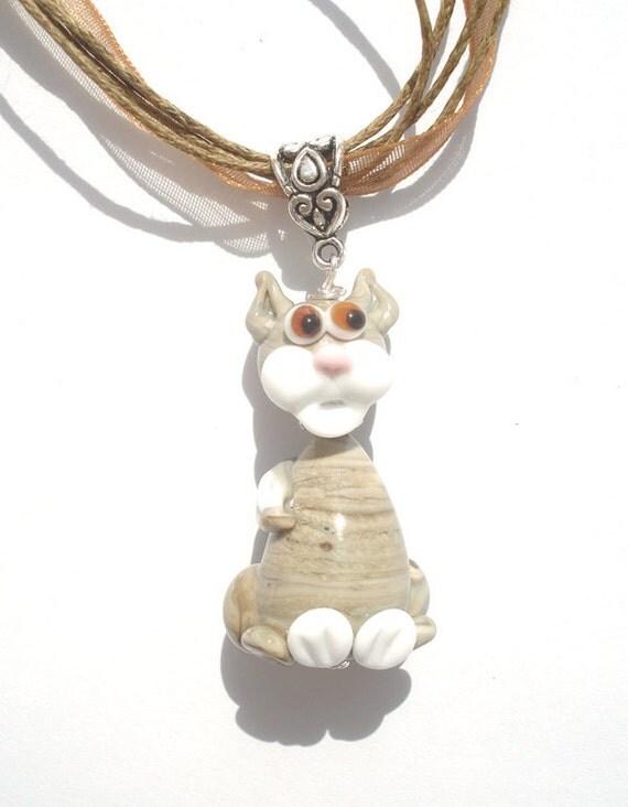Glass lampwork necklace pendant cat Tom