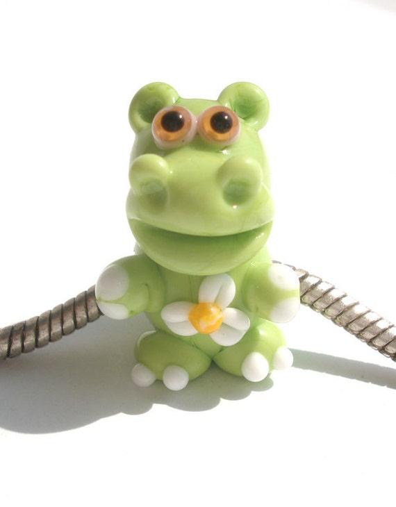 Lampwork big hole beads fits bracelet-handmade glass large hole beads-Glass lampwork hippopotamus (hippo) bead