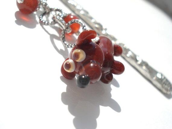 Bookmark dachshund and bone glass lampwork beads