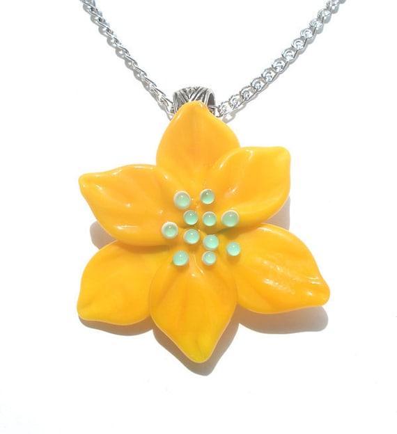Glass lampwork necklace pendant yellow flower