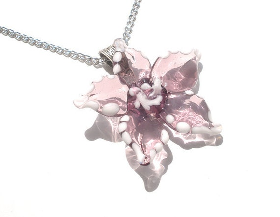 Glass lampwork necklace pendant amethyst flower