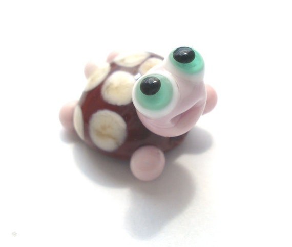 Brown turtle with ivory dots  glass lampwork bead