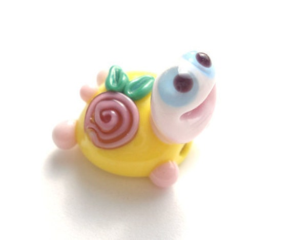 Yellow turtle with rose flower  glass lampwork bead
