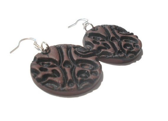 Brown  imitations of leather  polymer clay earrings