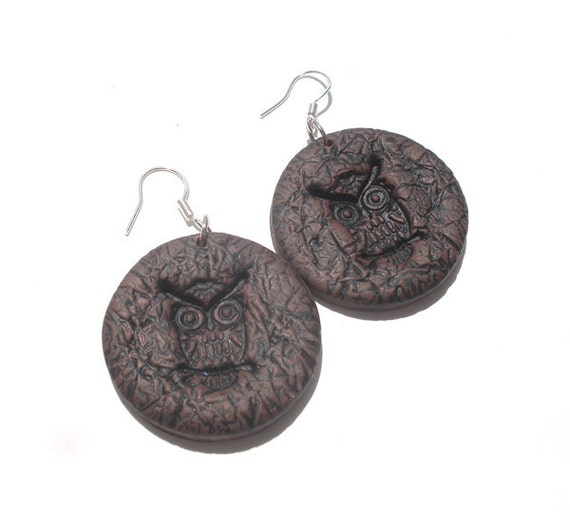 Brown  imitations of leather   owl polymer clay earrings