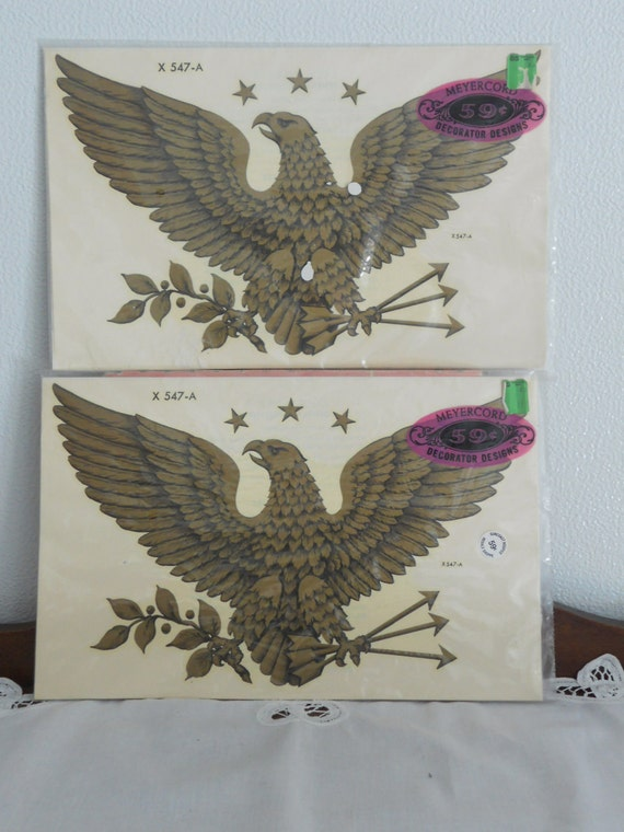 2 Vintage 1970s Large Gold American Eagle Meyercord Decals