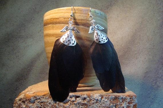"925 sterling silver Crow feather earrings, ""fallen angel"" raven wings, natural jewellery"