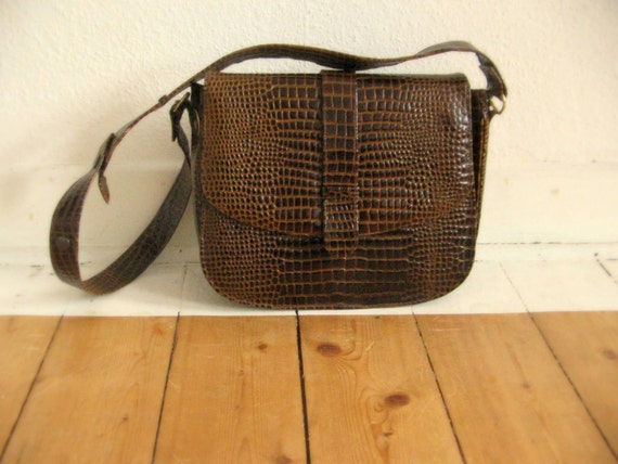 Vintage Crocodile Skin Leather Handbag Large Brown Bag Elegant