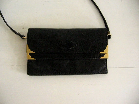 Vintage 80s Tiny Handbag Small Leather Black Leather Bag Cross Body