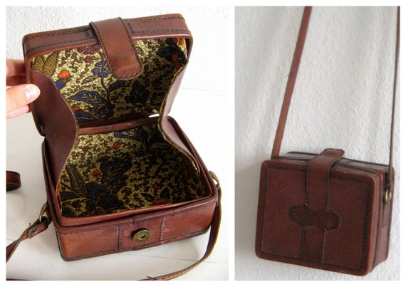 RESERVED Vintage Box Bag . 1970s . Crosbody Handbag . Distressed Brown Leather . Hippie Boho Style