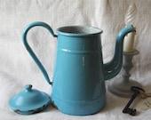 French Antique Coffee Pot Blue Enamel Shabby Chic