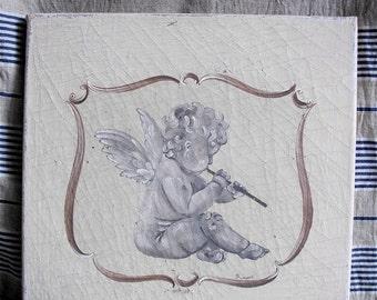 Unique original oil painting distressed cherubin with flute