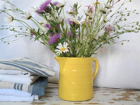 French earthenware milk jug shabby chic yellow flea market.