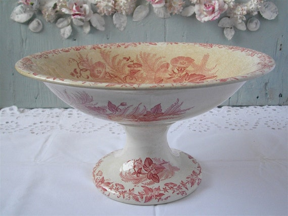 A fabulous Shabby Chic and French Antique Pink Fruit Dish