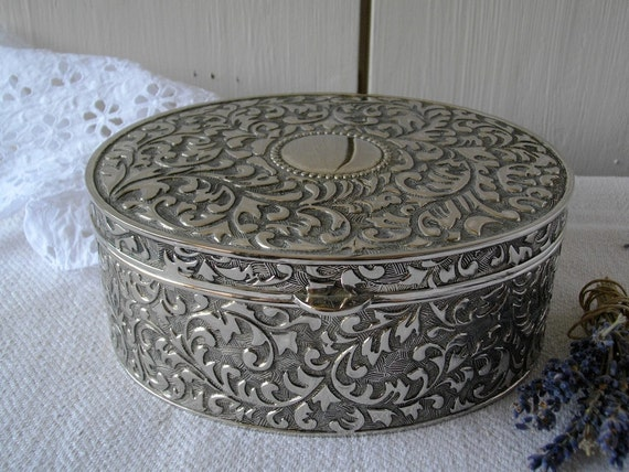 Vintage french metal jewelry box