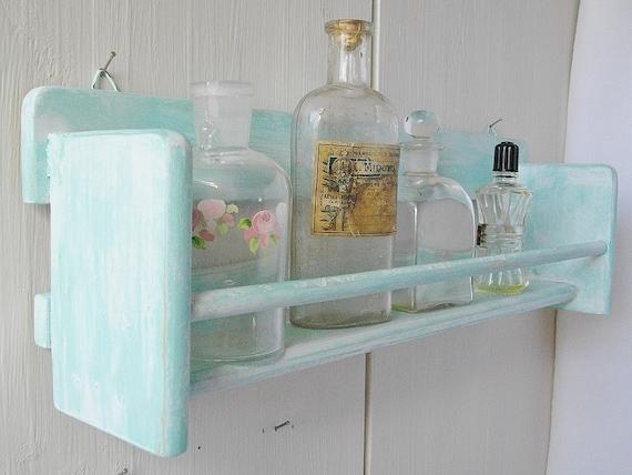 Turquoise hanging shelf french vintage shelf