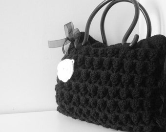 Fashion Week,Gifts for mom-Crochet black handbag -Shoulder Bag, Gift Under 75, Winter fashion -Sale