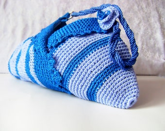 Ready To Ship-Blue crochet shoulder bag-Daily and summer special design stylish bags-Everyday Bag