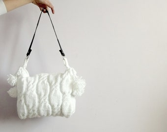Free Shipping Valentines day gift-White Knitted Handbag - Shoulder Bag - Everyday Bag ,Black Friday,Cyber monday