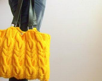 Christmas gift-Mustard handknit bag,Shoulder Bag,Handbag