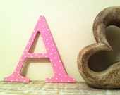 Decorative Wooden Wall Letter 'A' - Any Colour - Spotty or Plain - Various Sizes