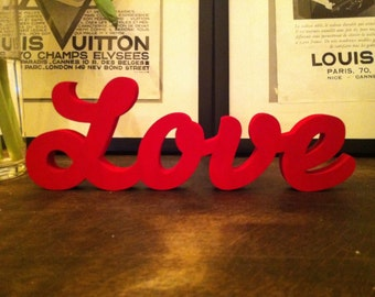Wooden Letters - Love - various colours and finishes available, Standing, painted, script font