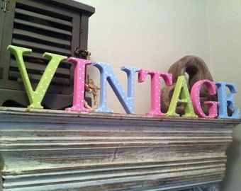 Freestanding Wooden Letters 'VINTAGE' - Spotty - Georgia Style - 10cm