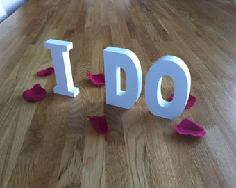 25cm Handpainted Wooden Freestanding Letters - I DO - Ariel Font - various colours & finishes