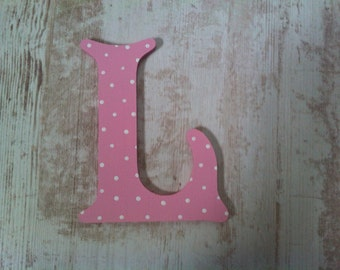 Decorative Wooden Wall Letter 'L' - Any Colour - Spotty or Plain - Victorian Style
