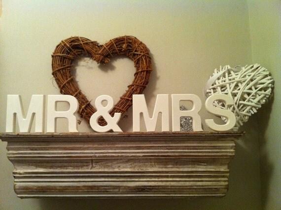 10cm Handpainted Freestanding Letters - Mr & Mrs - White - Helvetica Font
