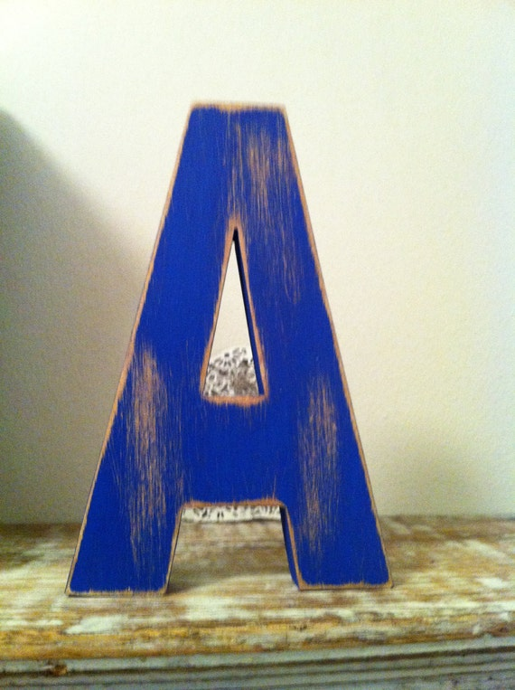 Freestanding Wooden Letter 'A' - Distressed Finish - 15cm - Ariel Style Font
