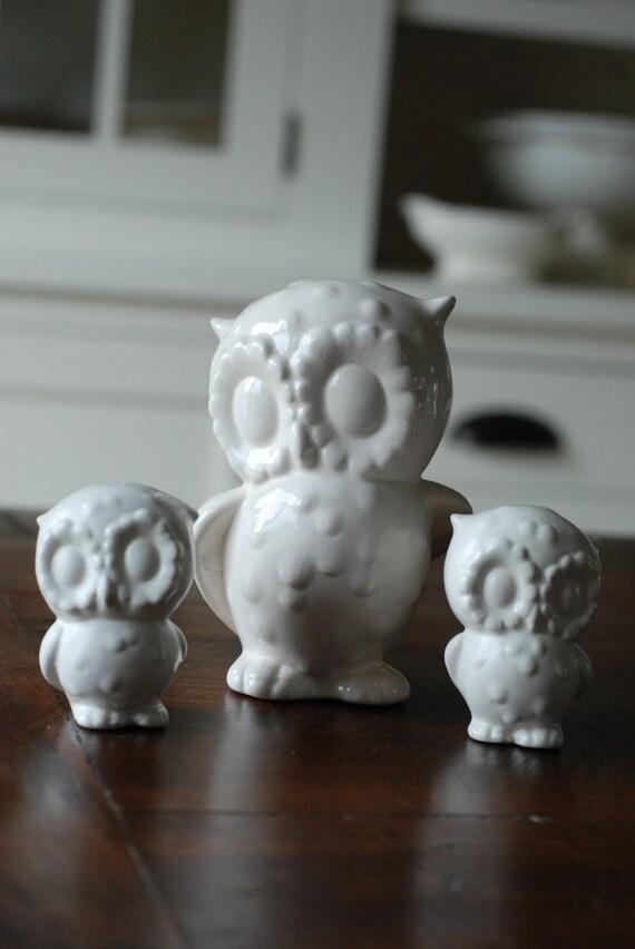 handmade modern - vintage mama owl/babies set