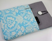 MacBook Air 11 inch Case Laptop Sleeve Cover Padded , with pockets for iPhone - Baby Blue Damask