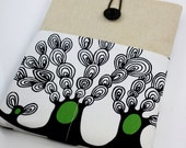 iPad Case, iPad Sleeve, iPad Cover, PADDED, with pockets for iPhone - Spring Trees (Black & White)