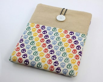 iPad Case, iPad Sleeve, iPad Cover, PADDED, with pockets for iPhone - Colorful Skulls