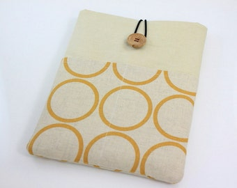 MacBook Air 11 & 12 inch Case Laptop Sleeve Cover Padded , with pockets for iPhone - Yellow Circles