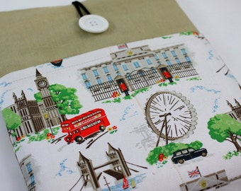 iPad Case, iPad Sleeve, iPad Cover, PADDED, with pockets for iPhone - London