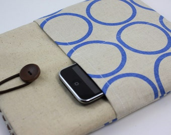 iPad Air Case, iPad Air Sleeve, iPad Air Cover, PADDED, with pockets for iPhone - Blue Circles