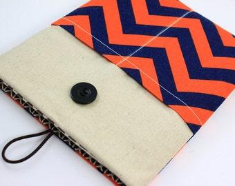 iPad Air Case, iPad Air Sleeve, iPad Air Cover, PADDED, with pockets for iPhone - Orange & Navy Chevron Zig Zag Stripes