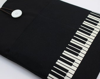 """Laptop Case,13"""" MacBook Case,13"""" MacBook Air Case,13"""" MacBook Pro Case, PADDED, with 2 pockets - Piano Music (Black & White)"""